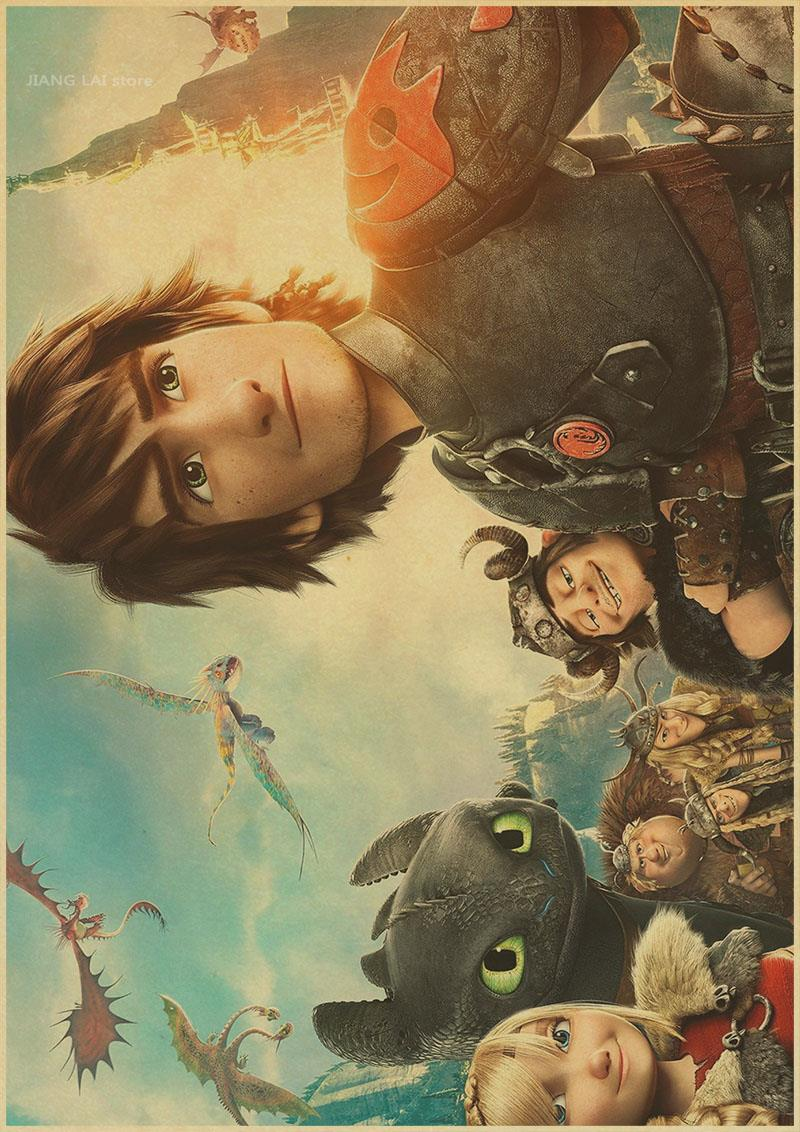 How to Train Your Dragon retro Posters Hanging Decorative Painting ...