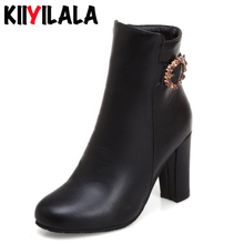 Kiiyilala Square High Heel Chelsea Boots Women Shoes Ankle Boots Autumn Winter Shoes Round Toe Side Zipper Woman Boots Big Size woman genuine leather platform square heel knee high boots round toe side zipper dress winter boots black