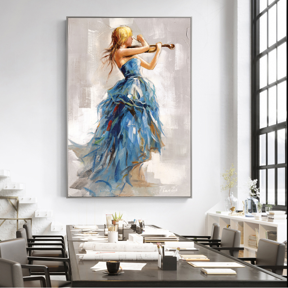 Modern Wall Art Canvas Paintings Girl Playing The Violin Posters And Prints Ballerina Girl Canvas Art Prints For Living Room