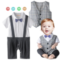 Loongbob Baby Clothing Baby Boy Formal Suit Gentlemen Romper Vest 2PCS Baby Boys Clothing Set Bow Tie Party Wedding Cloth