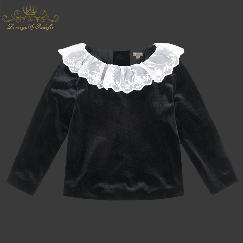Girls Summer Tops Children T shirts Baby Clothes 2018 New Autumn Brand Black Velvet Tees Girl T-shirt Lace Kids Tee Shirt Fille black cold shoulder lace up t shirts