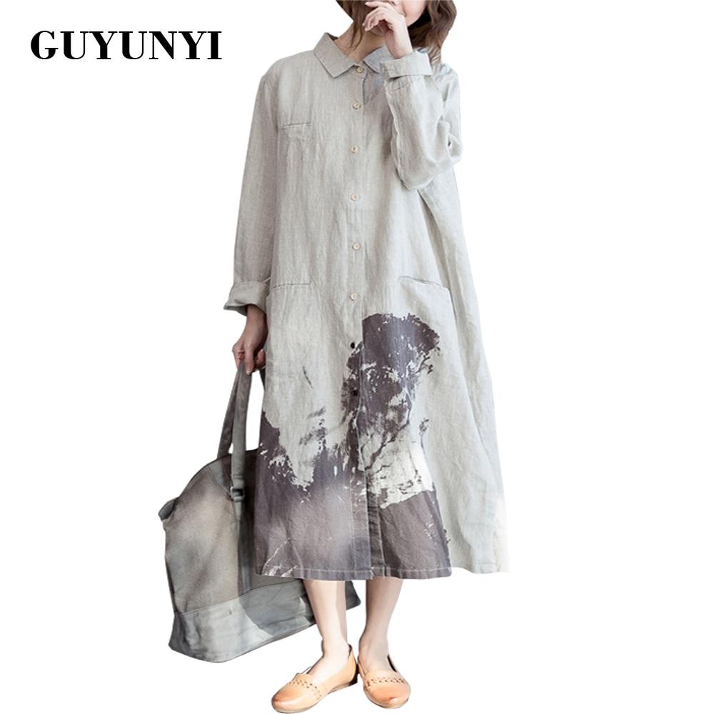 GUYUNYI Jesienna koszulka damska Sukienka Panie Lniane sukienki z długim rękawem Vestidos Casual Vintage Print Odzież CX682