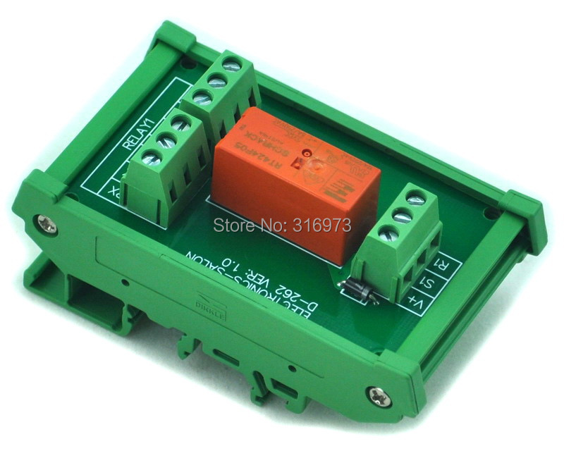 DIN Rail Mount Passive Bistable/Latching DPDT 8A Power Relay Module, 5V Version
