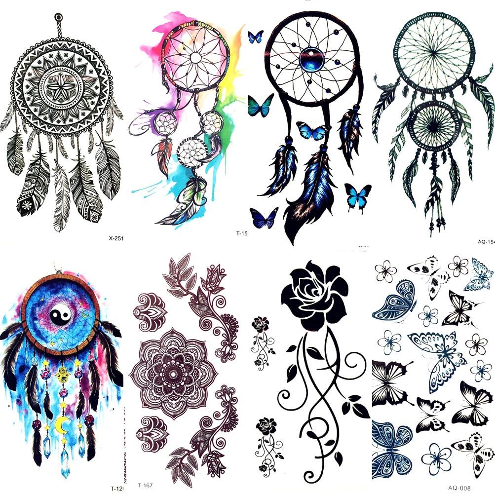 Watercolor Dream Catcher Temporary Tattoo Women Tribal Tattoo Sticker Black Dreamcatcher Fake Flash Tatoo Girl Body Arm Shoulder