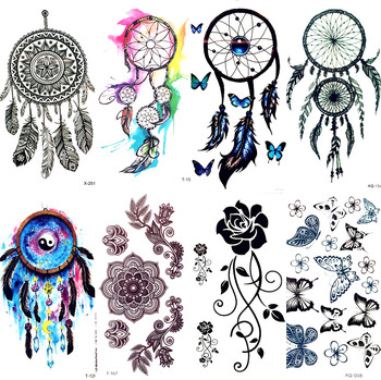 Watercolor Dream Catcher Temporary Tattoo Women Tribal Tattoo Sticker Black Dreamcatcher Fake Flash Tatoo Girl Body Arm Shoulder