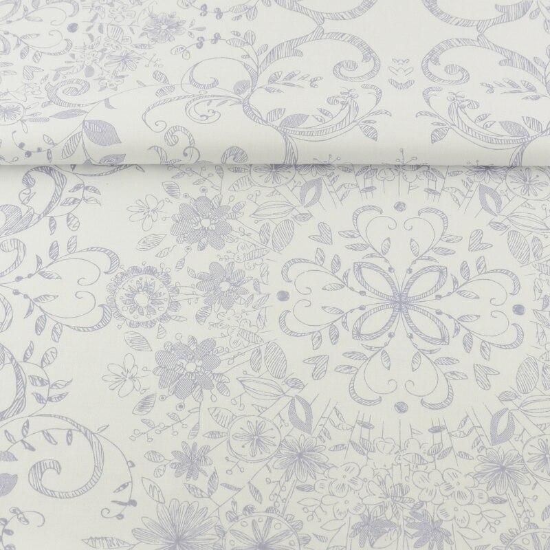 100% Cotton Fabric Printed Floral Plant Design White Twill
