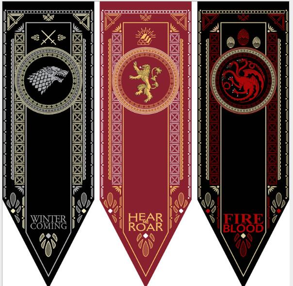Game Of Thrones Banner Flag Stark & Tully & Targaryen & Lannister & Baratheon & Martell & Bolton Game Of Throne Costume Props