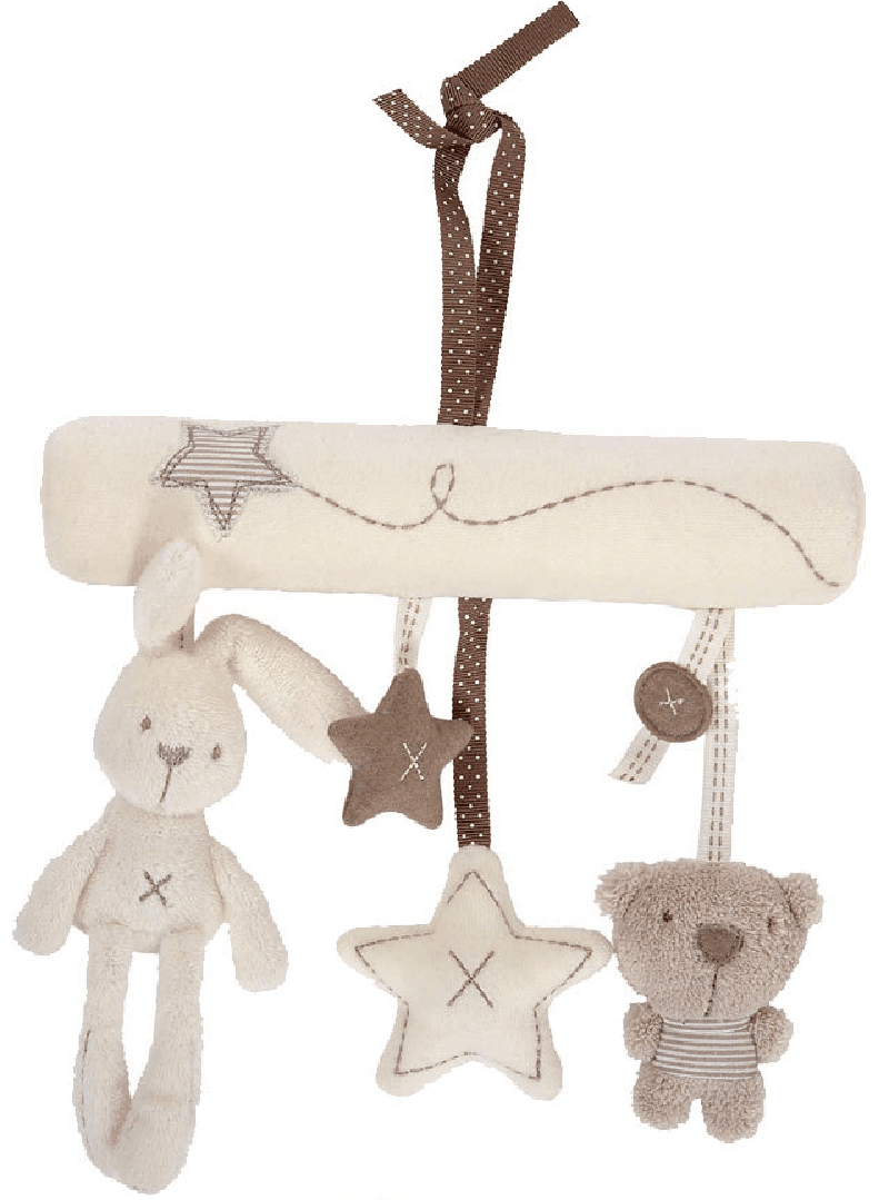 New Baby Hanging Bell Toy Music Crib Mobile Bed Bell Toddler Baby Rattle Rabbit Bear Star Soft Plush Toys(China)