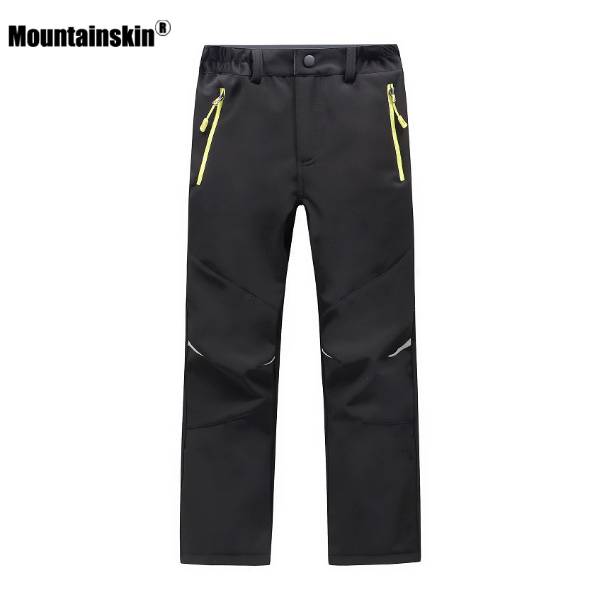 Mountainskin Kids' Winter Fleece Softshell Hiking Pants Youth Children Outdoor Waterproof Camping Trekking Skiing Thousers VC014