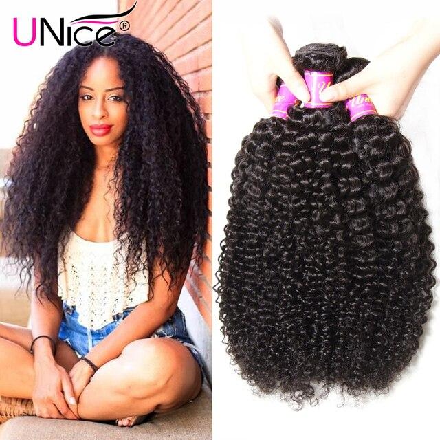 Unice Hair Brazilian Curly Virgin Hair 4 Bundle Deals Jerry Curl