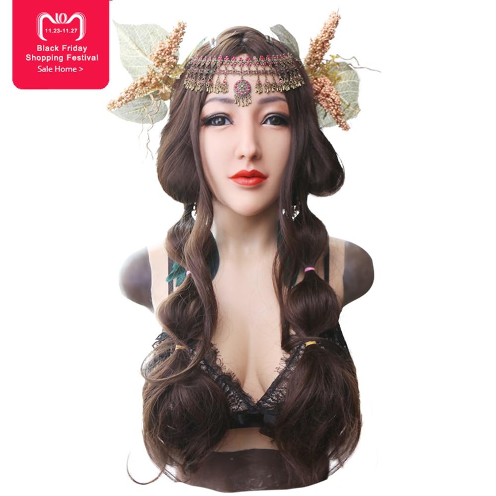 EYUNG dea realistico Alice volto femminile per crossdresser di Travestimento con silicone liquido di riempimento D coppa del seno piatto tette finte