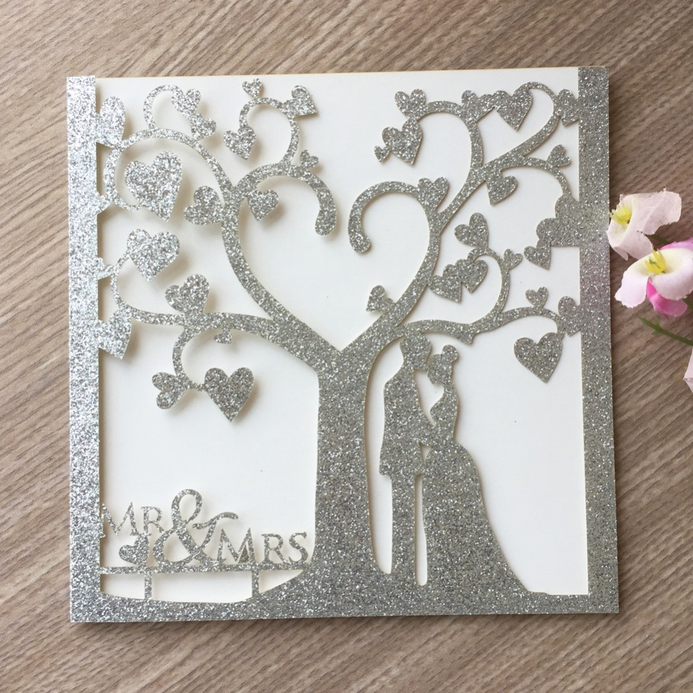 50pcs Luxury Glitter paper Silver Rose Gold Love Tree Romantic Wedding Invitation Card with Couple words Party Inviting Card in Cards Invitations from Home Garden