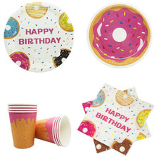 Donut Party Decorations Disposable Tableware Sets Paper Plates/Cups/Napkins/Tablecloth Kids Birthday Party Decor Baby Shower Sup celebrate party gold foil disposable tableware set paper plates cups napkins straws adult birthday party decor wedding party sup
