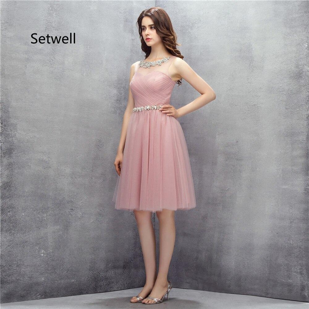 ea9d98cb02 Setwell śliczne różowy tanie Homecoming suknie 2017 aplikacja Illusion  Backless Homecoming sukienka kolano długość sukienka na studniówkę w  Setwell śliczne ...