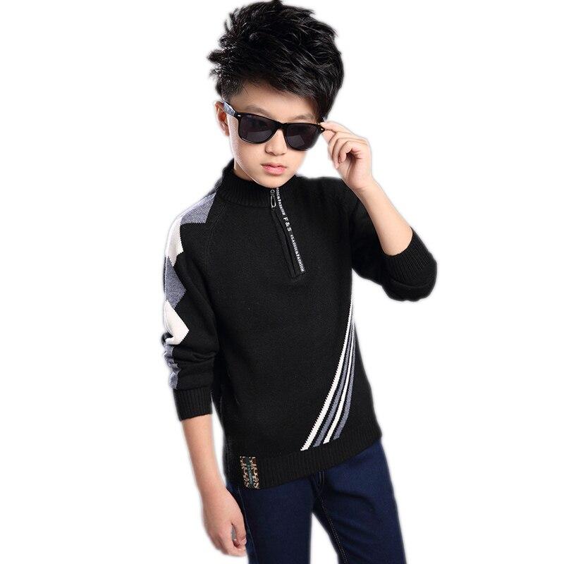baby boy sweater 2017 kids clothes long sleeve striped boy knitted sweater zipper kids turtlencek pullover children warm outwear