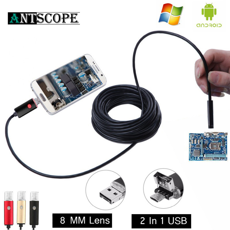 8MM 2 IN 1 USB Inspection Endoscope 3 Colors Android Phone OTG HD 2/5/10m Snake Borescope With 6 LED Pipe Endoscopio Camera 30