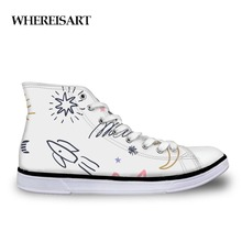 WHEREISART Colorful Graffiti Stars Women's Shoes Casual Shoes Fashion Painting High Top Sneakers Women Female Zapatos de mujer