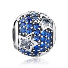 100% 925 Sterling Silver With Blue CZ Stars Bead Charm DIY Jewelry Making Accessories Fit Original pandora Charm Bracelet