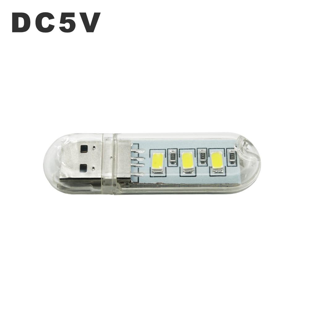 LED USB Night Light Portable U Disk Lamp 3LEDs 1.5W Reading Lamps Colorful Mini Book Lights DC5V Power Bank Powered Camping Bulb 6