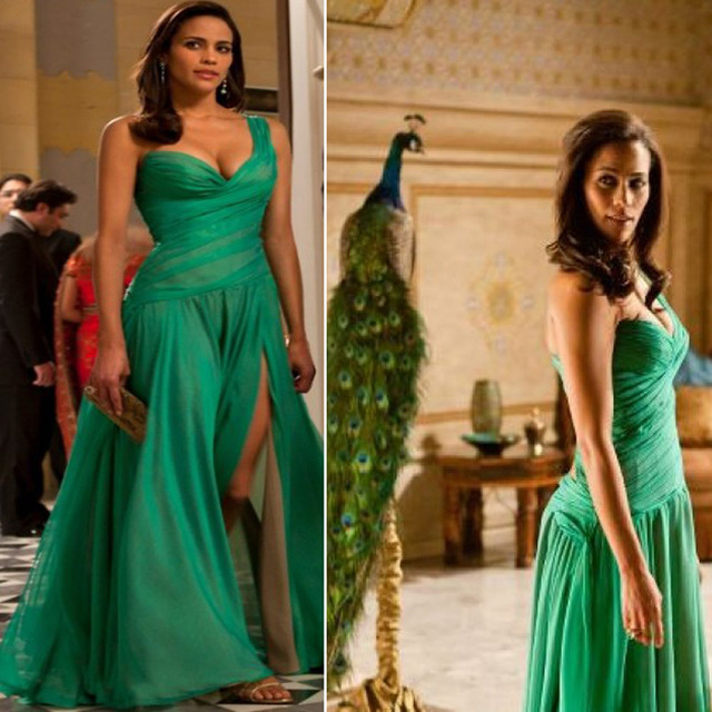 Hot Sexy Elegant Inspired Paula Patton Green Celebrity Evening Dress In Movie Mission -3836