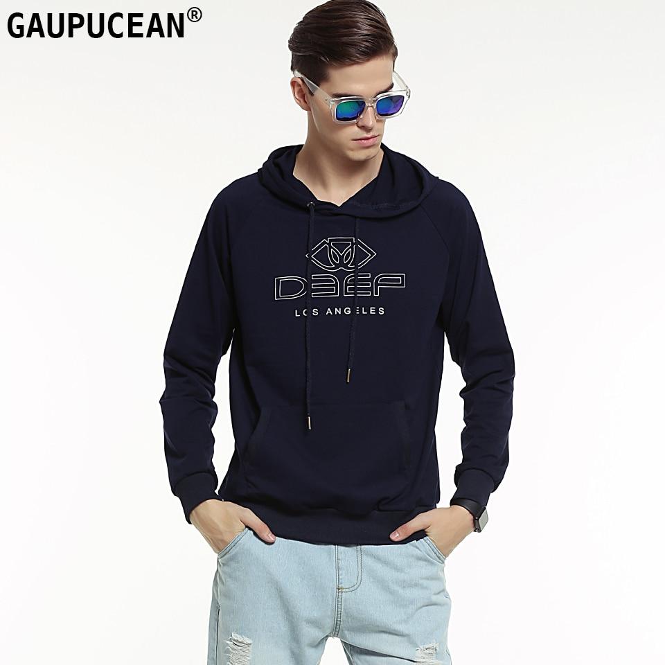 Genuine Gaupucean Man Hoodie Cotton High Quality Fashion Navy Blue Grey White Casual Full Long Sleeve Men Hooded Sweatshirt