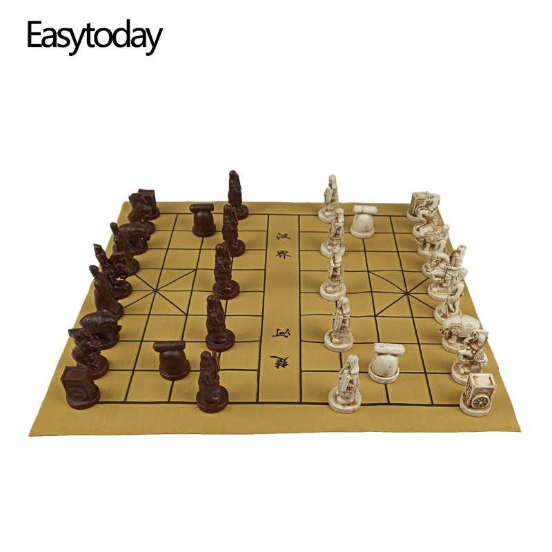 Easytoday Chinese Chess Games Synthetic Leather Chessboard Terracotta Warriors Resin Pieces Table Birthday