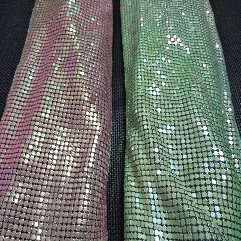 45x140 cm ZY tout nouveau Chunky paillettes irisées métal maille tissu métallique Sequin paillettes tissu décoration de la maison rideau