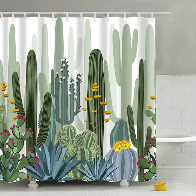 180*180 cm Piante Tropicali Cactus Stampa Tenda Della Doccia per il Bagno Imperm