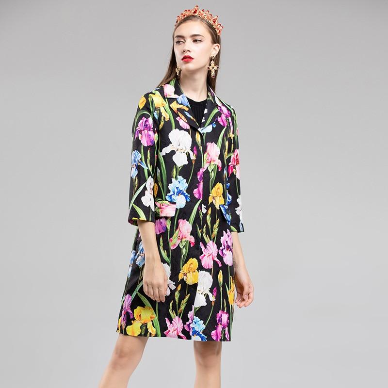 Long Tranchée Jacquard Casaco De Imprimé Femmes Pardessus Les Automne Élégant Hiver 2018 Noir Piste Manteau Pour Designers Mode Vintage Floral EaqUBn