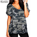 ZANZEA 13 Color Womens T-shirt 2017 Summer Style V neck Short Sleeve Basic Tee Tops Plus Size Female Casual Loose Shirts Blusas