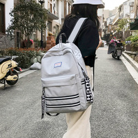 Schoolbag female 2018 new Korean students campus striped backpack Japanese travel backpack