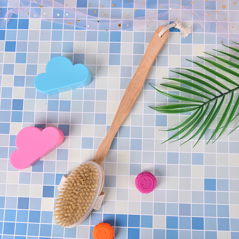 Skin Cleaning Brush With Long Wooden Handle Bath Body Brush Boar Bristles Exfoliating Body Massager For Dry Brushing And Shower