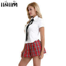 5e0da2f39 3Pcs Women Adult Cosplay Costume School Student Uniform Suit White Shirt  with Red Pleated Skirt Sweetie