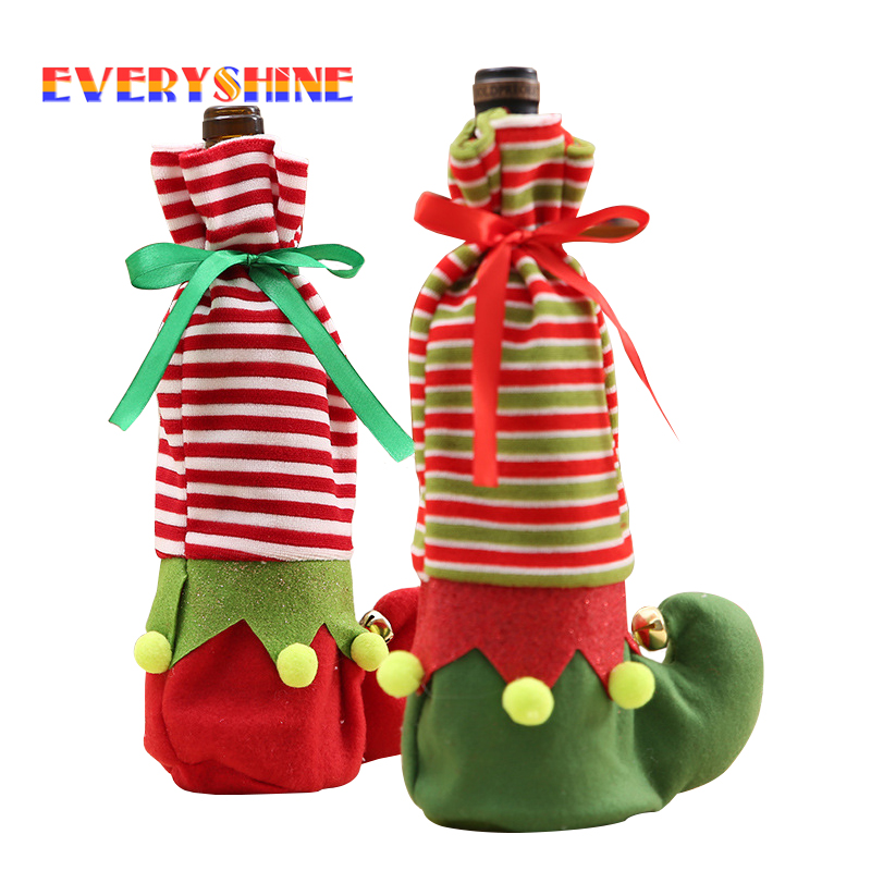 Santa Claus Elf Wine Bottle Cover Christmas Decoration Table Chair Legs Cover Xmas Festival Gift Bags for Home Decor SD313