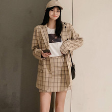 Womens suit Casual long sleeve plaid jacket Fashion high waist shorts women pants set 2019 new
