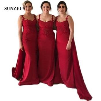 Red Satin Bridesmaid Dresses with Chiffon Flutter Lace Appliques Women's Party Dresses Sweetheart vestido boda invitada SBD103