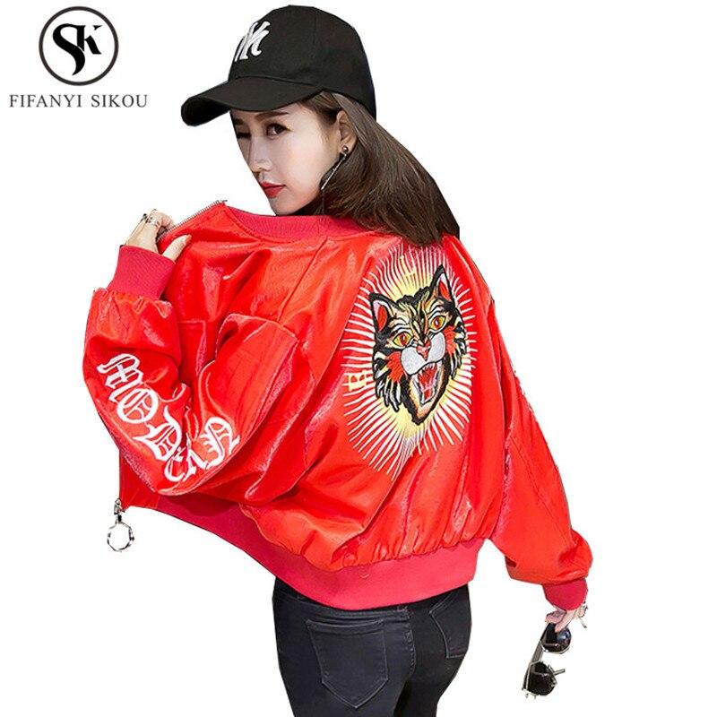Streetwear Glossy Bomber Harajuku Lp20 Coat Women Plus Fashion Print Black Size Spring navy Short Embroidery Loose Tiger New red Blue Jacket 88pqxgZfE