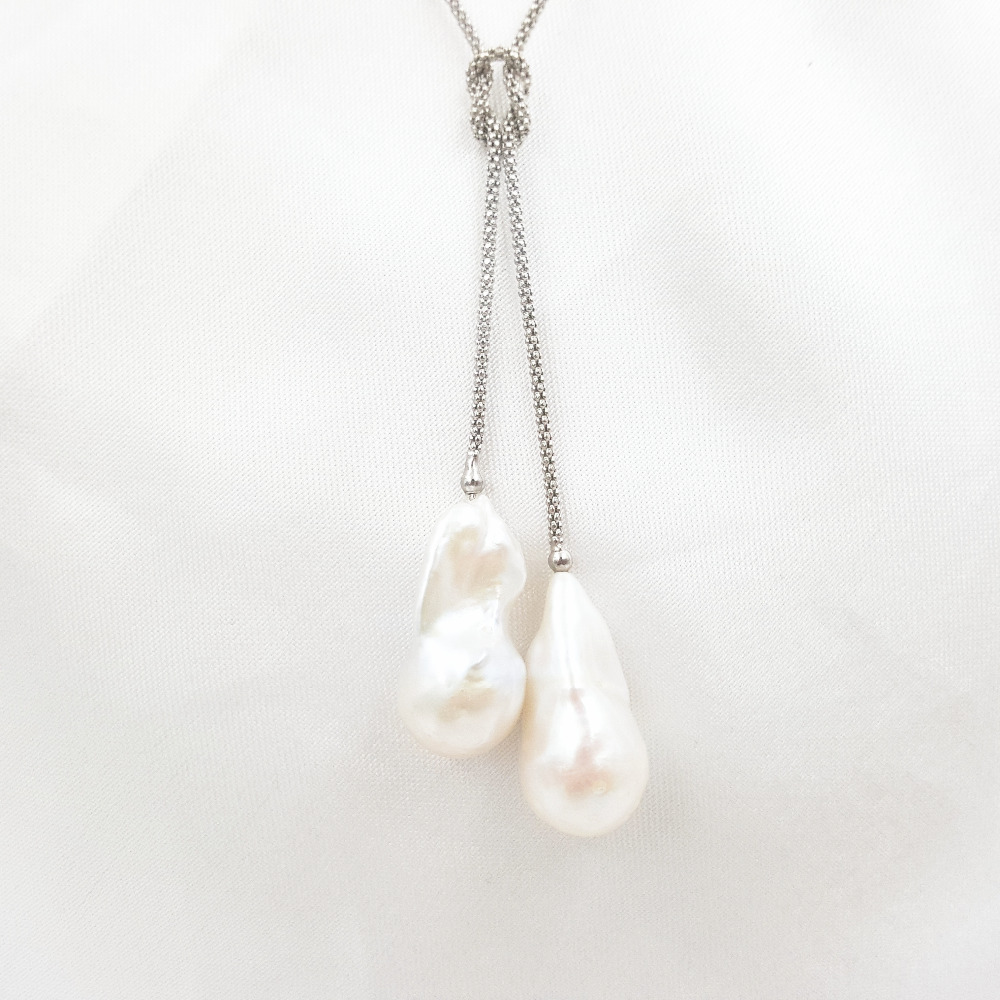 Lii Ji Double AA+ Baroque Pearl 925 Sterling silver Necklace 44cm charming rose quartz pearl necklace 44cm length