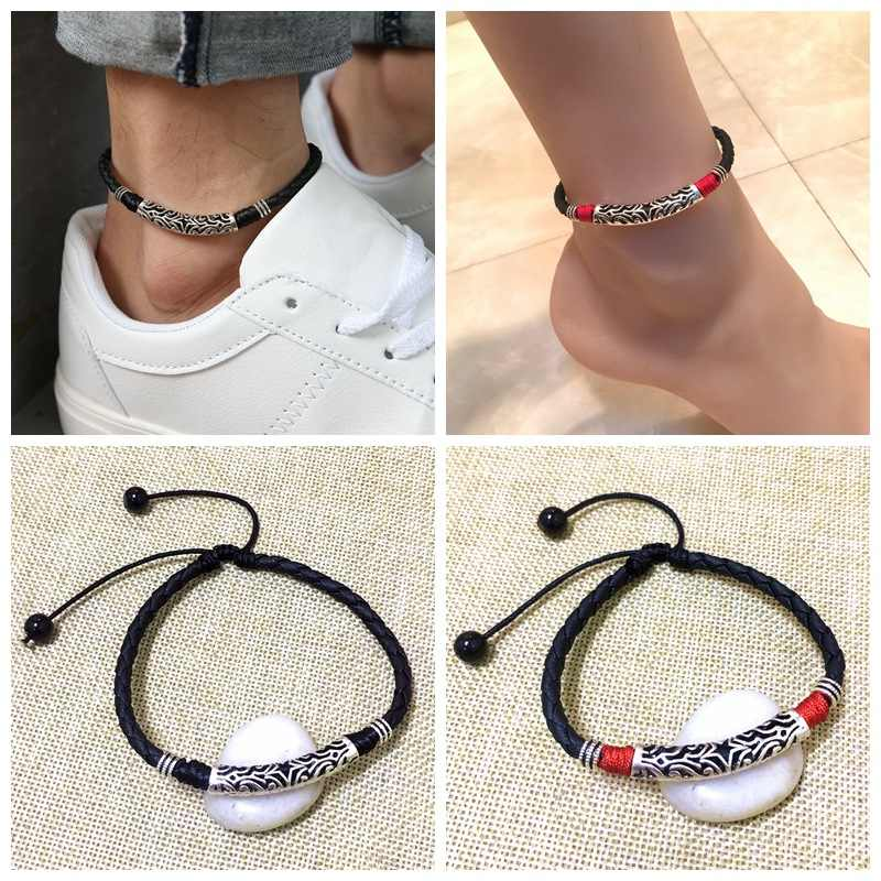 Leather Rope Beads Anklet Bracelet On The Leg Anklet For Women Men Couple Barefoot Sandals Shoes Beach Pool Yoga Wear