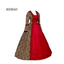 Red Print Renaissance Georgian Gothic Dress Gown Steampunk Reenactment Theatrical  Cosplay Costume