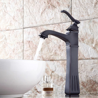 Free ship New arrival single hole oil rubbed bronze Bathroom Vessel Sink Mixer Tap TALL square Crystal handles