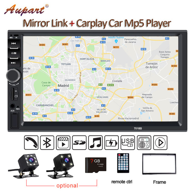 2 Din Multimedia Player DIN car radio with rear camera General 7'' Touch Screen Autoradio Car MP5 New 7018B Carplay & Mirrorlink
