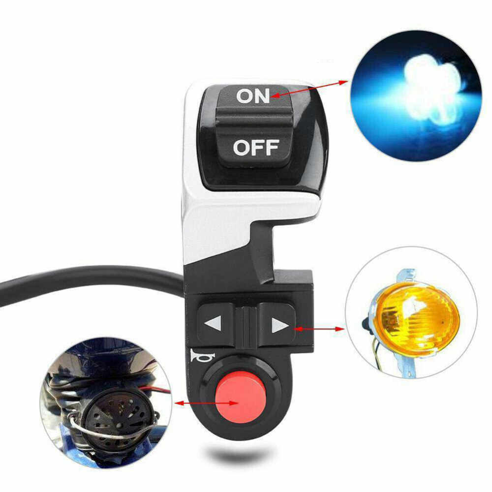 Alomejor E-Bike Handlebar Switch 3-in-1 Motorcycle Turn Signal Head Light Horn Button Switch for Motorcycle Electric Scooter Bike