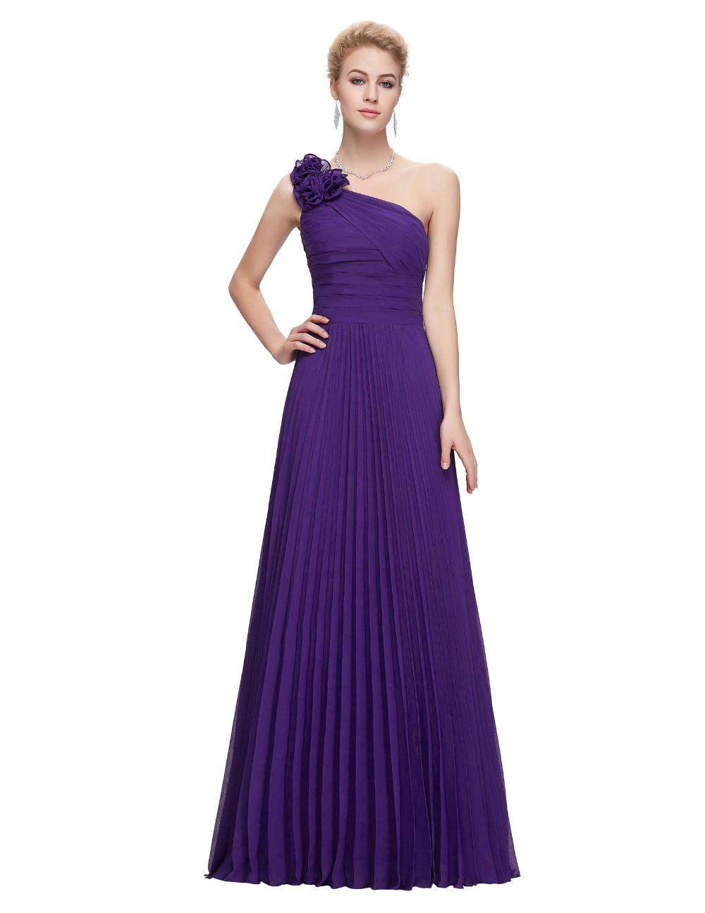 Grace Karin Chiffon Long Evening Dress One Shoulder Pleated Red Green Purple Royal Blue Formal Evening Dress Party Gowns 2018 17