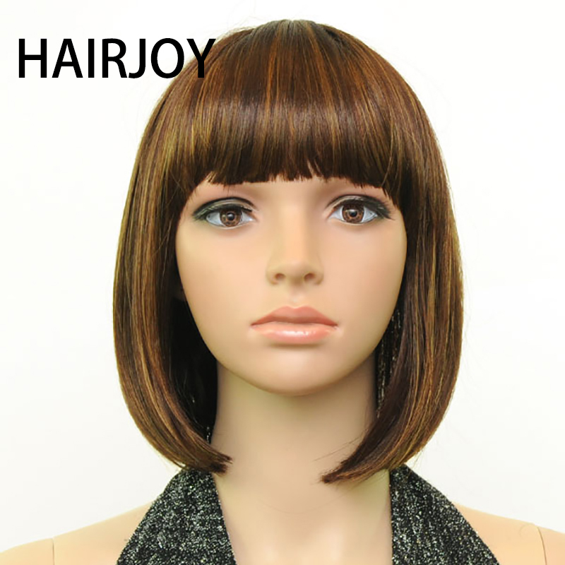 HAIRJOY Women Synthetic Hair Wig Full Bangs Brown Blended Short Straight Wig Bob Hairstyle Free Shipping 3 Colors Available