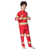 Fashion Children Clothing Suit Children S Clothing Boy Reflective Stripe Kids Fireman Clothes Set Cosplay Costume