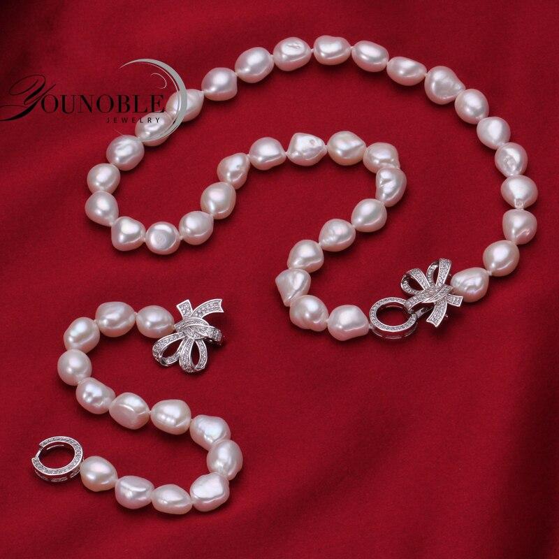 YouNoble Baroque 925 Perak 100% Putih Mutiara Air Tawar Alami Set - Perhiasan bagus - Foto 2