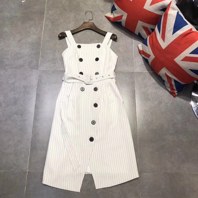 2018 Women Summer New Fashion Wild Heavy Double-breasted belt Stripe Long Strap Ladies Dress