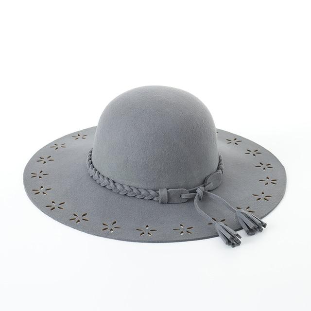 9136f15d602 Muchique Wool Felt Hat Black Wide Brim Floppy Hat Women s Winter Hat Ladies  Elegant Hat with Punch Holes Free Shipping 975022
