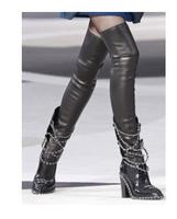 2016 Winter European Style Best Selling Women Trendy Metal Chains Over The Knee Boots Newest Thick